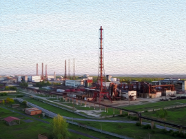 chemical plant oil painting